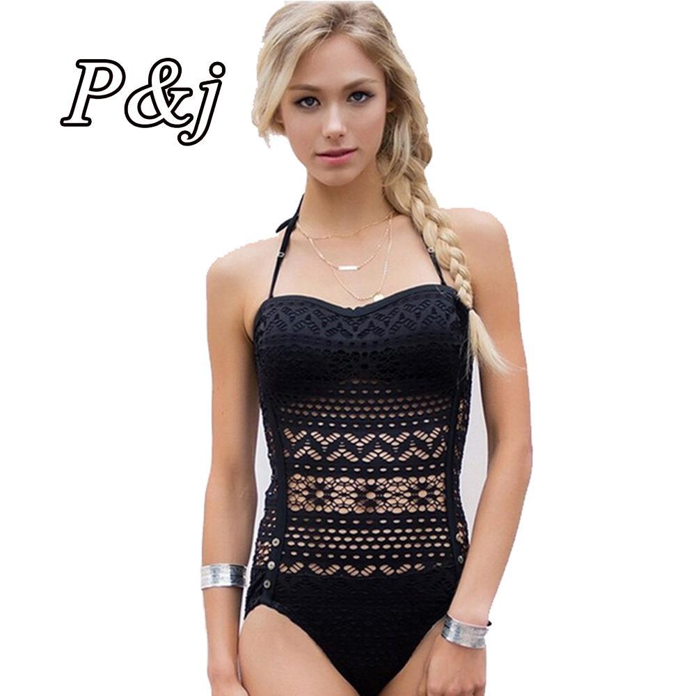 d36fc808db0ce P&j 2017 one piece Crochet Floral One Piece Women Swimsuit Halter Vintage  Women's Monokini Mesh Net Sexy Bathing Suits Newest