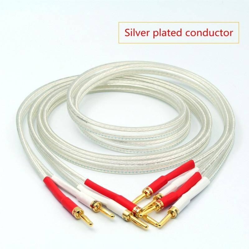 SP-8525 spina a banana OCC argentato Hi-Fi Speaker Cable High Performance L'amplificatore audio Linea di collegamento