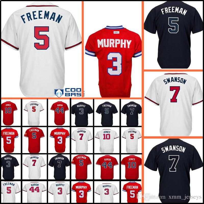 bc33d1694 2019 5 Freddie Freeman Jersey Men S 44 Hank Aaron 10 Chipper Jones Baseball Jerseys  Cheap Wholesale From Xmm jerseys