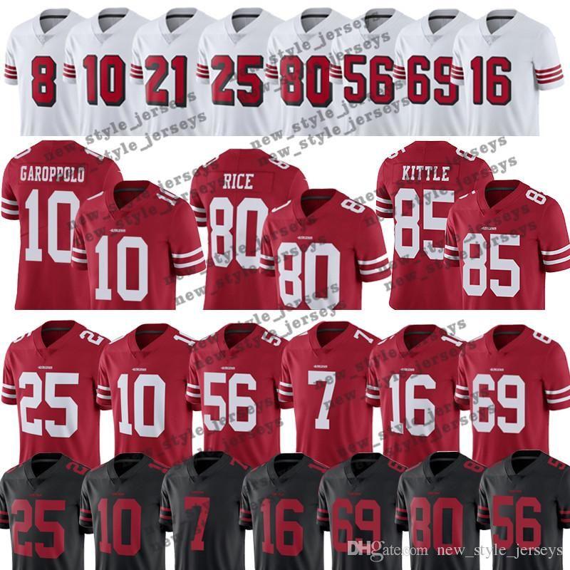 wholesale dealer 75f08 3452c 97 Nick Bosa 85 George Kittle 49ers jersey 80 Jerry Rice 25 Richard Sherman  10 Jimmy Garoppolo 16 Joe Montana Reuben Foster jersey