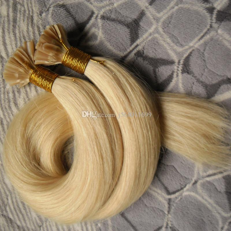 #613 Bleach Blonde Virgin BPerrazilian Straight Hair 100s Keratin Fusion Nail TIP Hair Extensions 100S Pre Bonded Nail U TIP Remy Human Hair
