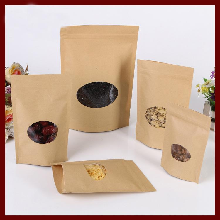 Brown kraft paper bag with round window stand up Zipper/zip lock Jewelry packaging bag paper bags for gifts/tea bags