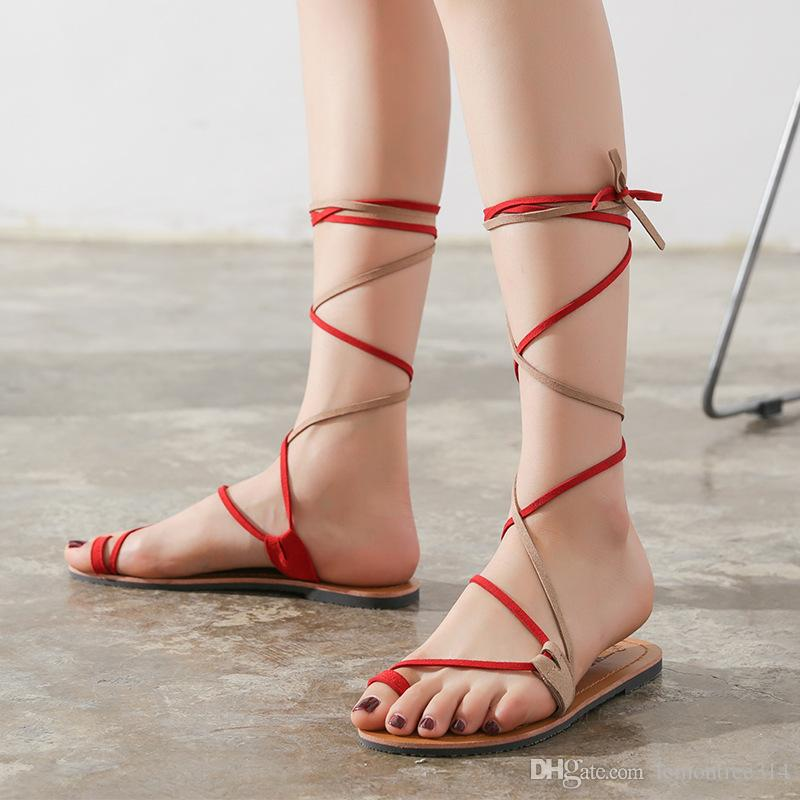 1bd5ce834d82 Women Lace Up Mid Calf Gladiator Flat Sandals Bandage Clip Toe Beach Shoes  Bohemian Casual Shoes Female Sandal Walking Shoes Girls Sandals White  Sandals ...