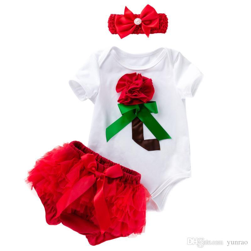 923fd153c 2019 Newborn Baby Girls Clothes With Headband Baby First Valentines ...