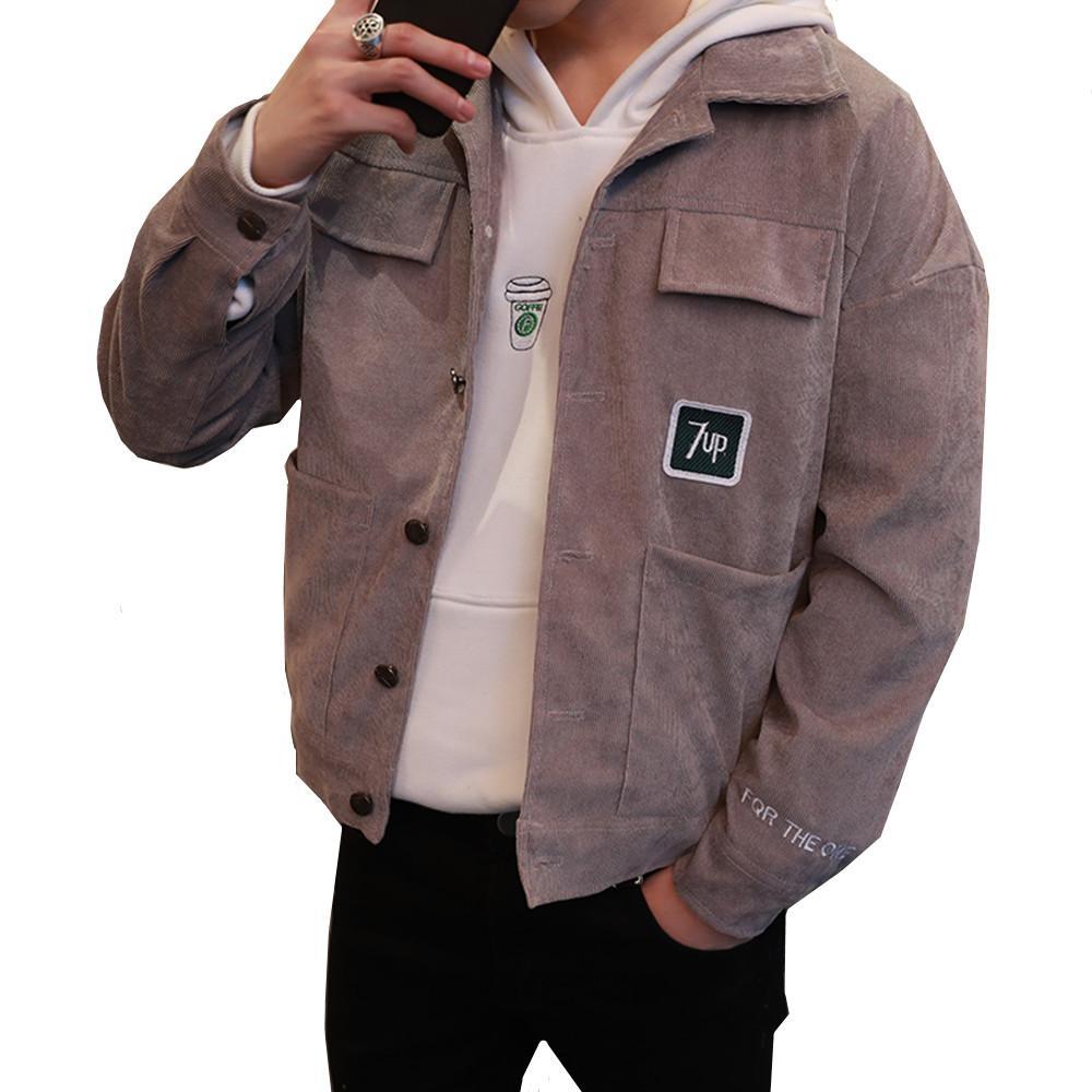 eb1d95326e56 Korean Fashion Jacket Coat Man Corduroy Turn Down Collar Pockets Mens  Jackets And Coats Casual Outerwear Windbreaker Male Mens Leather Jacket  Coats For Men ...
