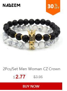 2019 Fashion / Sets Pietra naturale Bead Crown Charm Bracciale Set Uomo Donna Strand Bracciale gioielli fatti a mano Wristband