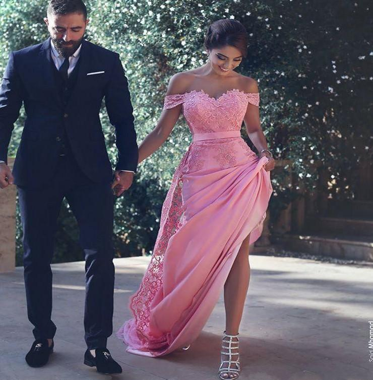 f05a25ef0d3 2019 Said Mhamad Pink Prom Dresses Saudi Arabic Dubai A Line Off Shoulder  Lace Appliques Long Evening Party Gowns Celebrity Dresses Custom Prom Dress  Formal ...