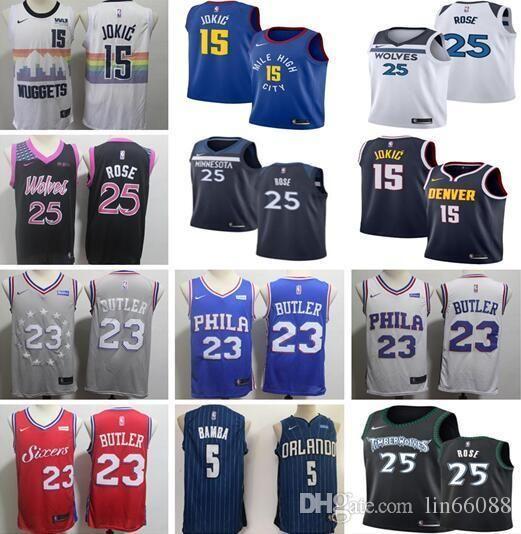 9b9963ad8 2018 New Minnesota Timberwolves 25 Derrick Rose Jersey Men Philadelphia  76ers 23 Jimmy Butler Denver Nuggets 15 Nikola Jokic Basketball Jerseys  From ...