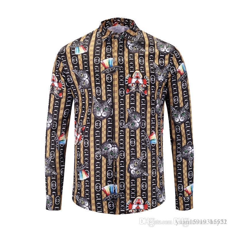 4931cf1575b8 New Quality Men's Shirt Long-sleeved Shirt Harajuku Medusa Gold Camisa  Hawaiana Chain Dog Rose Print Shirt Fashion Retro Floral Sweater Medusa  Shirt Fashion ...