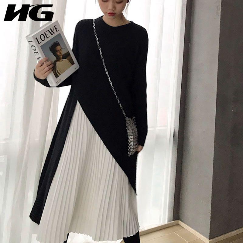 11fe52c3fc Compre HG Moda Francesa Vestido Twinset Femenino 2019 Primavera Nueva  Casual Manga Completa O Cuello Patchwork Vestido Plisado A Media Pierna  WBB2012 A ...