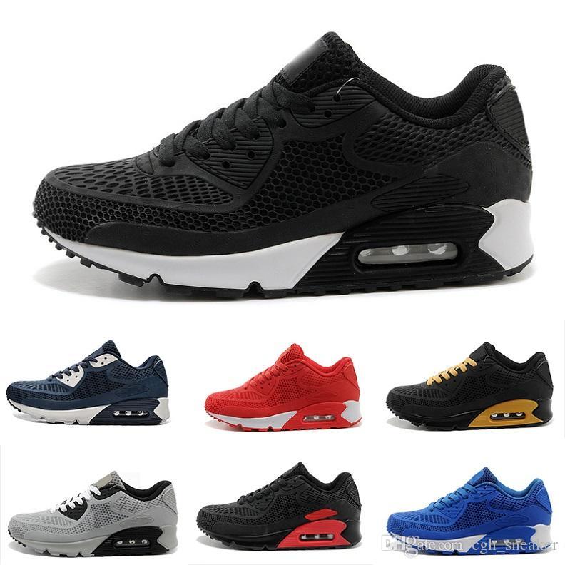 reputable site 7d1be 97a9e Acheter Nike Air Max 90 KPU Nouveaux Hommes Chaussures Classiques 90 KPU  Hommes Et Femmes Chaussures De Course Noir Rouge Blanc Sports Trainer Air  Cushion ...