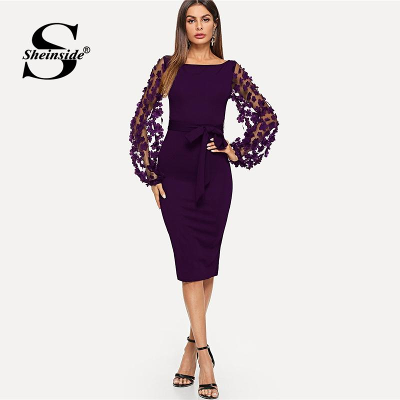 ac46024dae Sheinside Purple Elegant Bodycon Dresses For Woman 2018 Party Dress Flower  Applique Mesh Sleeve Form Fitting Women Midi Dress Long Sundresses For Women  ...