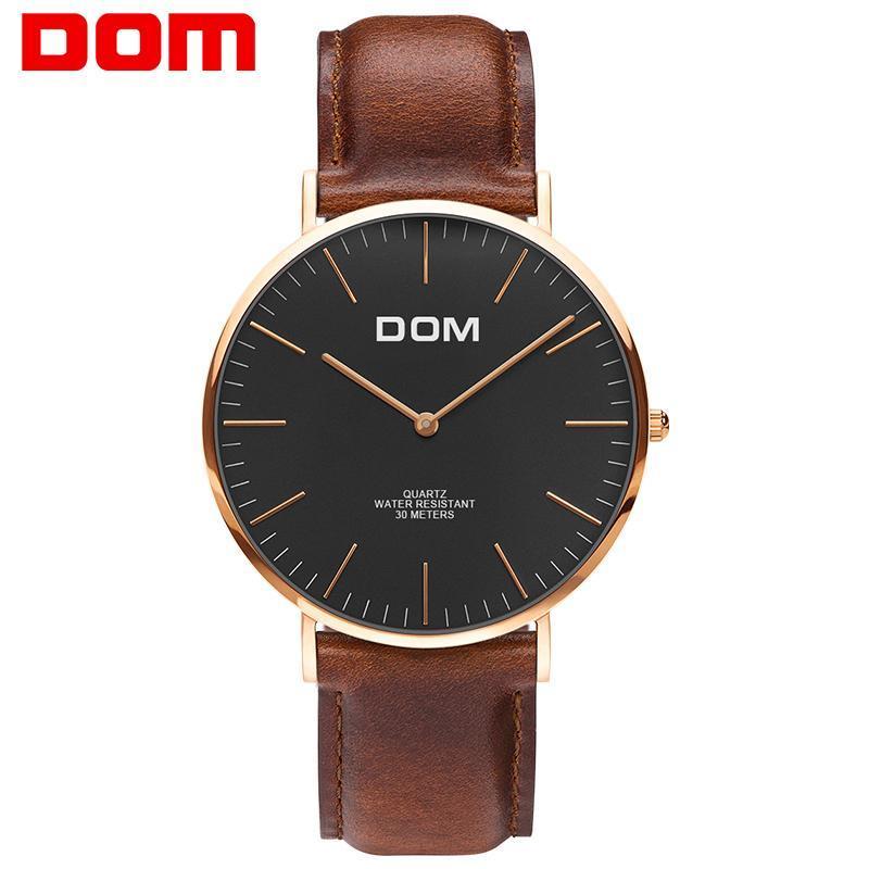 6fc29abbd74 Compre Assista Homens DOM Top Marca De Luxo Relógio De Quartzo Casuais  Relógio De Quartzo Relógio Pulseira De Couro Ultra Fino Relog Masculino M  36GL 1M5 De ...