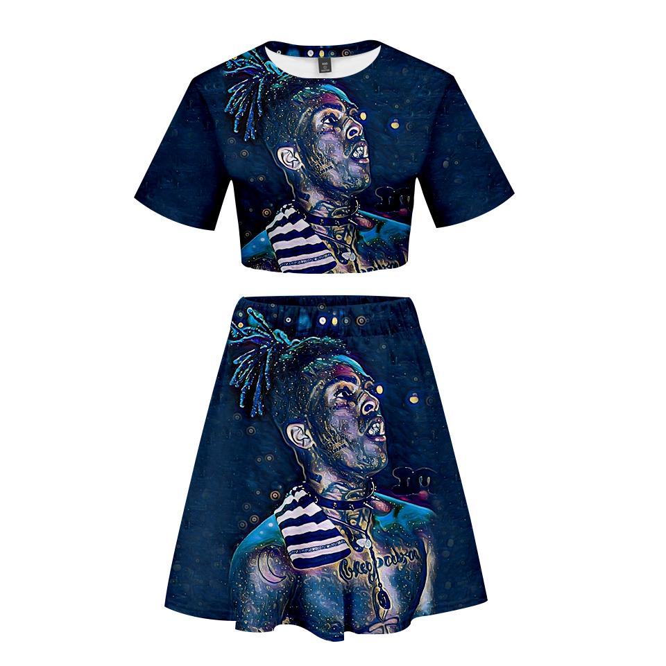 c5edfff90 BTS 2019 New Xxxtentacion And Lil Peep Women Two Pieces Skirts Sets ...