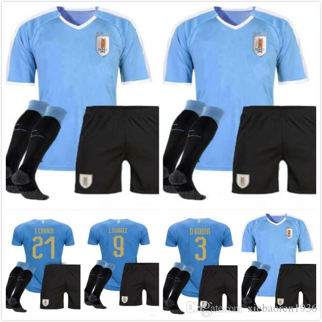 bda4a8d8526 2019 Top Thai Quality URUGUAY 2018 2019 Adult Kits Socks Home Soccer SUAREZ  D.GODIN E.CAVANI URUGUAY Football Shirt Jersey Men Jersey Sets From ...
