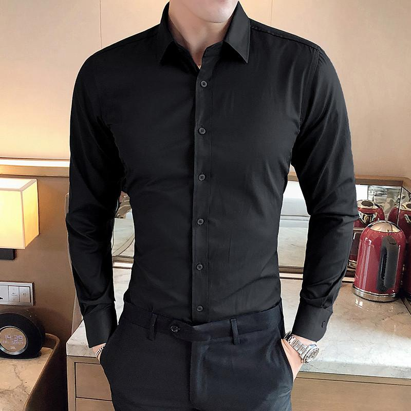 2019 New Fashion Brand Camisa Masculina Long Sleeve Shirt Men Korean Slim Design Formal Casual Male Dress Shirt Size M-5XL