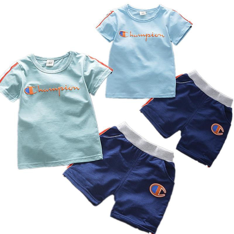 786b7accc INS Boys Champions Letter Tracksuit Kids Short Sleeve T shirt + Shorts  Summer Sportswear Casual Sports Pajamas Set Striped Outfits B4251