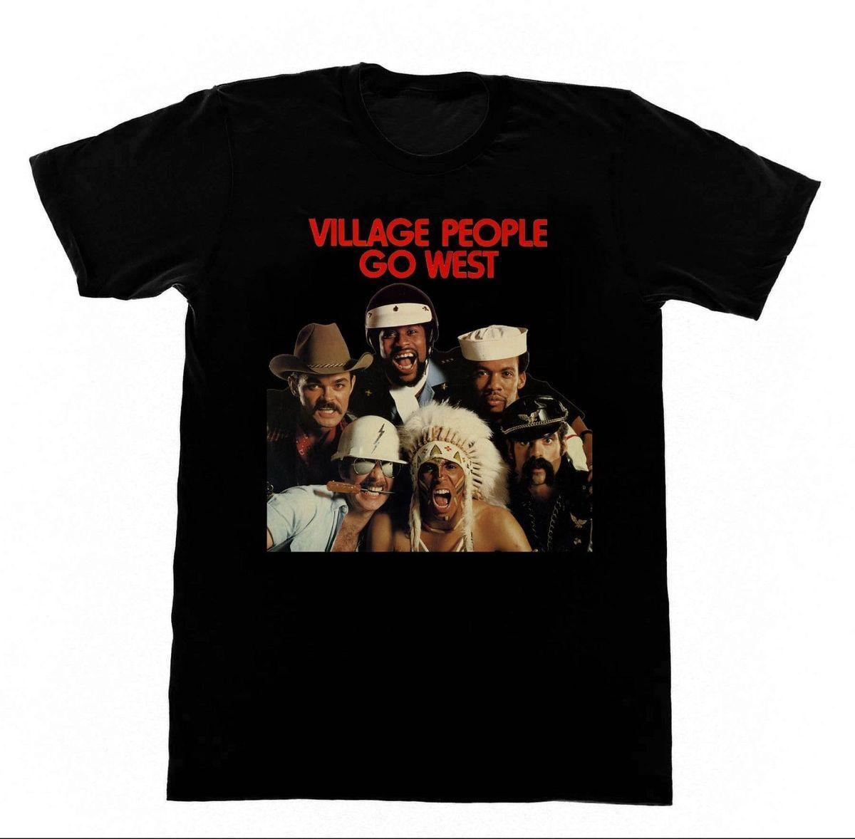 The Village People - T-shirt Go West LGBT Disco Studio 54 Grease Men T-shirt per adulto a manica corta in cotone