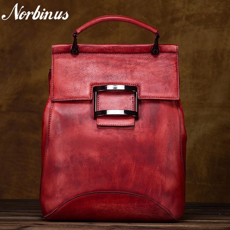 0ea806cb5a Norbinus Women Natural Cowhide Backpack Rucksack Genuine Leather Vintage  Ladies Travel Daypack School Bags For Teenager Girls Back Pack Mochilas  Jansport ...