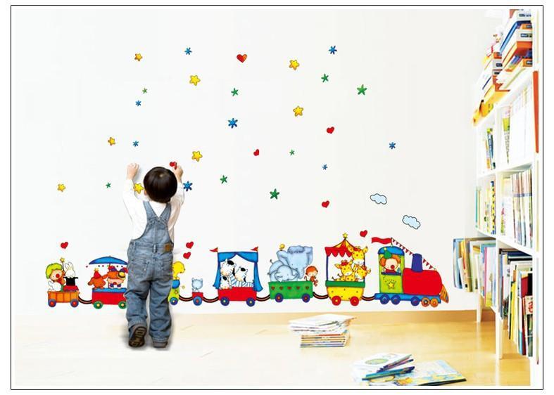 아트 비닐 서커스 트레인 DIY 이동식 벽 스티커 Parlor Kids 침실 홈 데코레이션 벽화 TC990