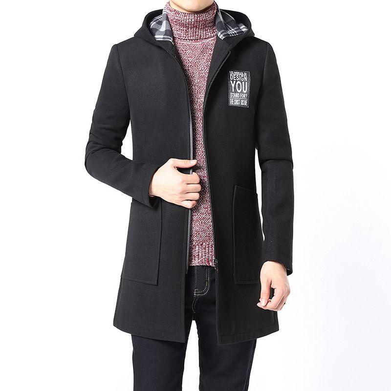 25b7ed2ff41f9 Satın Al Bahar Kış Kapüşonlu Trençkot Erkek Kaşmir Palto Slim Fit Rahat  Moda Ceketler Erkek Yün Karışımları Giyim İngiltere Tarzı, $83.03    DHgate.Com'da