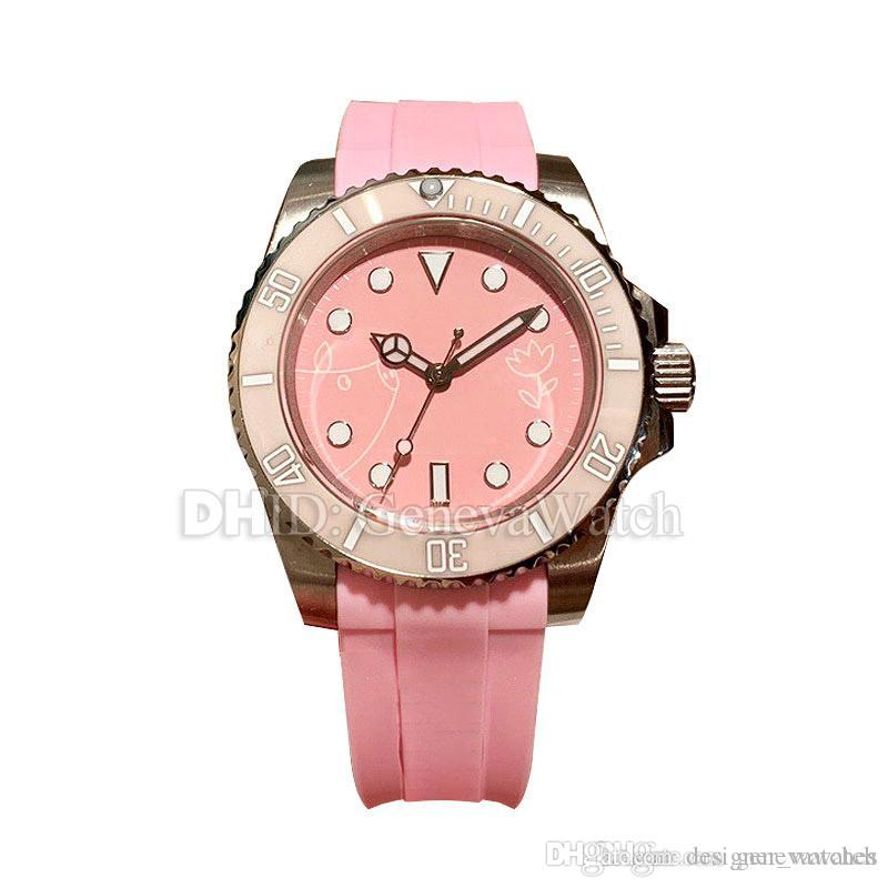 Pink Luxury Women Watches Sapphire 316L Stainless Steel Case Rubber Strap Automatic Watch 38mm lady watches montre de luxe luxury watch