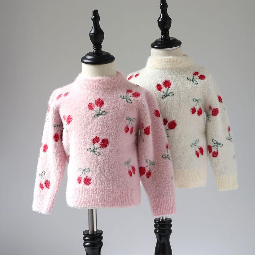 a0752c1c4a44 Girls Sweater Long Sleeve 2018 Autumn Winter Children Cherry Sweater ...