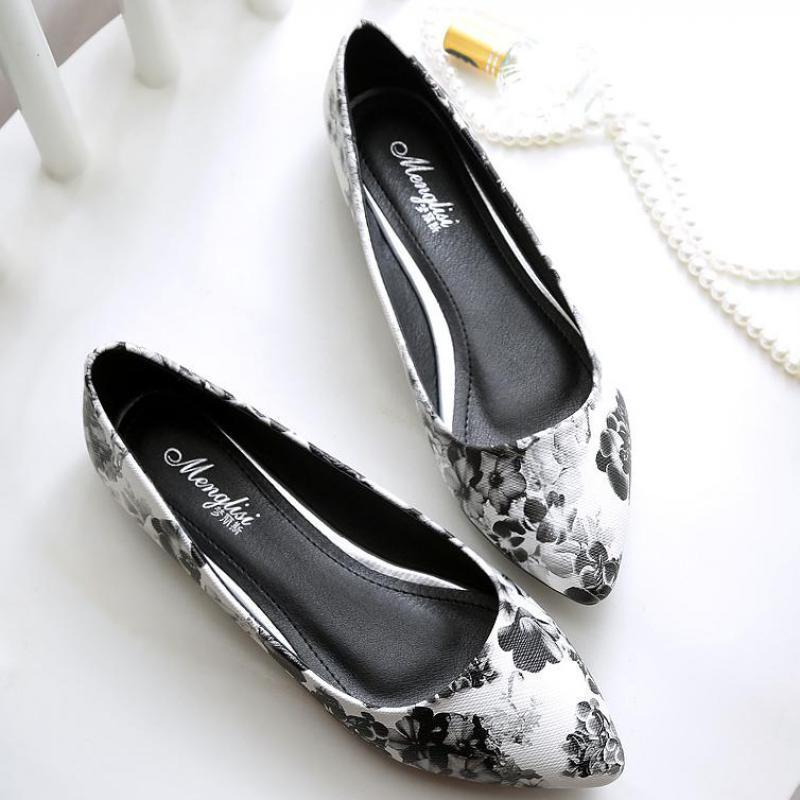 f56373ebc27 Large Size 34~45 Printed Flower Women Shallow Single Shoes Pointed Toe Ballet  Flats Leather Ballerina Shoes Comfortable Loafers Slip On Shoes Formal Shoes  ...
