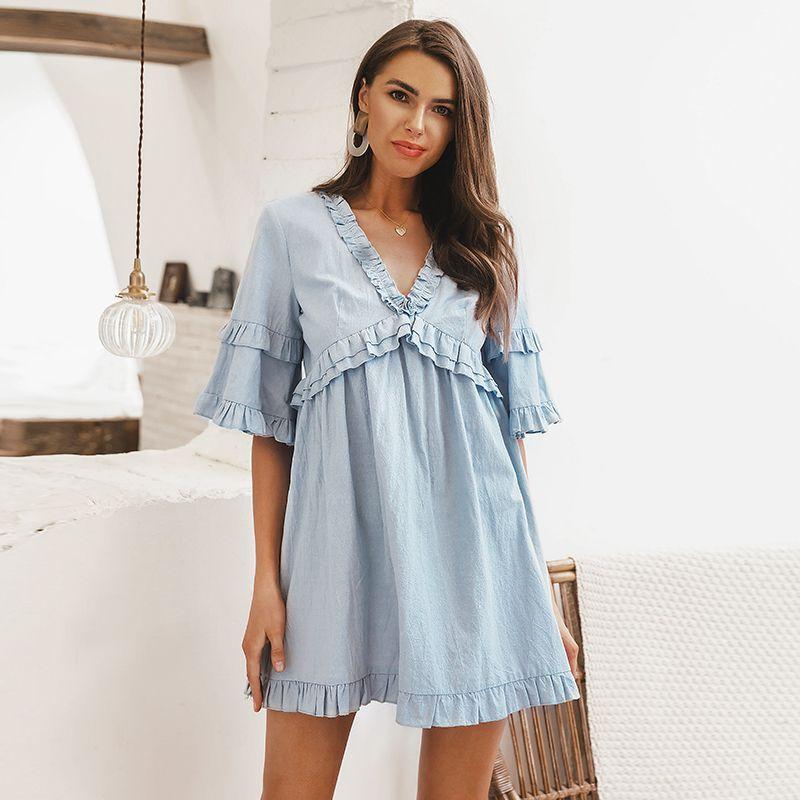 f5578f0ca Elegante vestido con volantes sólidos de las mujeres de manga corta suelta  vestido casual de verano con cuello en v cintura alta vestido sexy ...