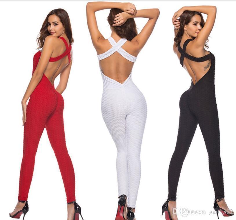 cross-border Jumpsuit hot sale new explosion models sexy backless one-piece yoga pants hip exercise fitness pants women