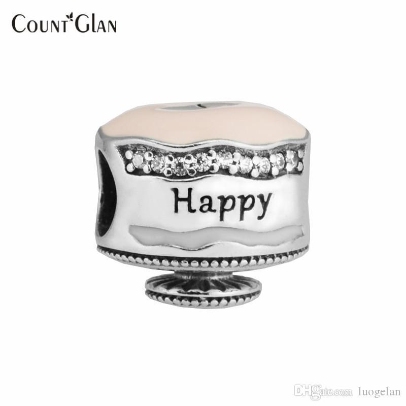 Pandora Bilezik uyar Charms Boncuk Takı Yapımı için Mutlu Doğum Günü Pastası Gümüş Charm Ayar-Gümüş-Takı DIY Boncuk