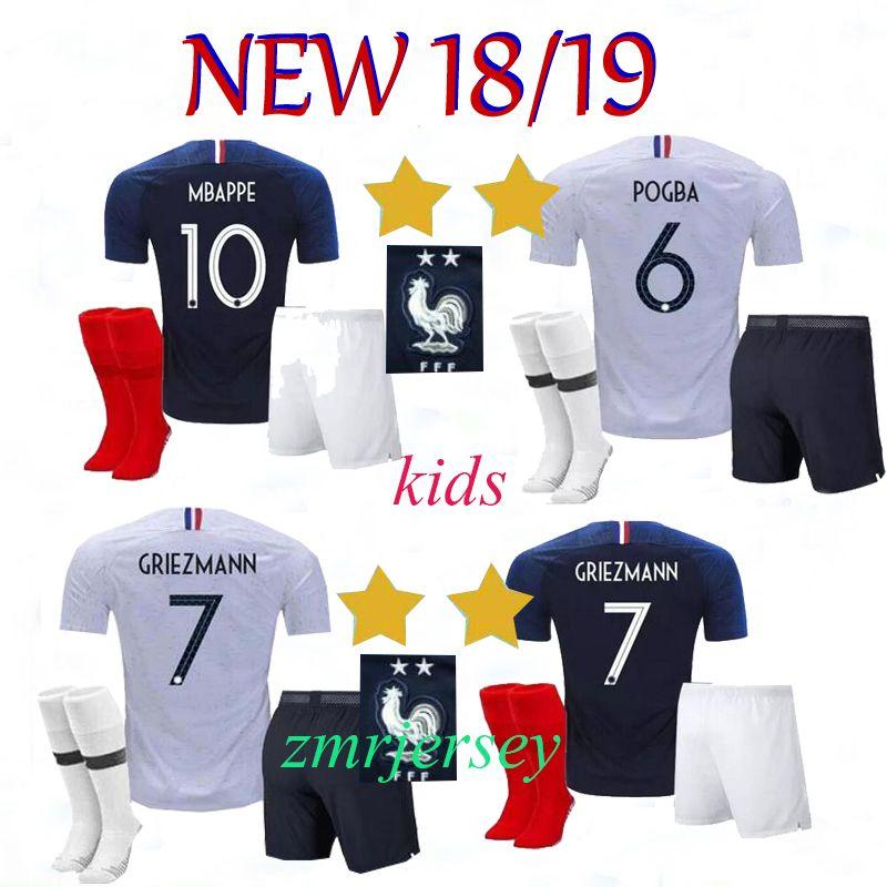 d90d76ba904 France Kids Kits+sock GRIEZMANN MBAPPE POGBA Soccer Jerseys 2018 ...
