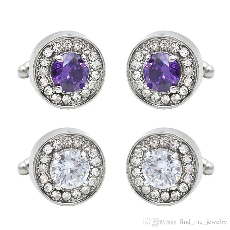 Fashion Round Purple Crystal Cufflinks For Men Simple Shirt Button Tacks Geometric Alloy Silver Plated Dress Jewelry Accessories Wholesale