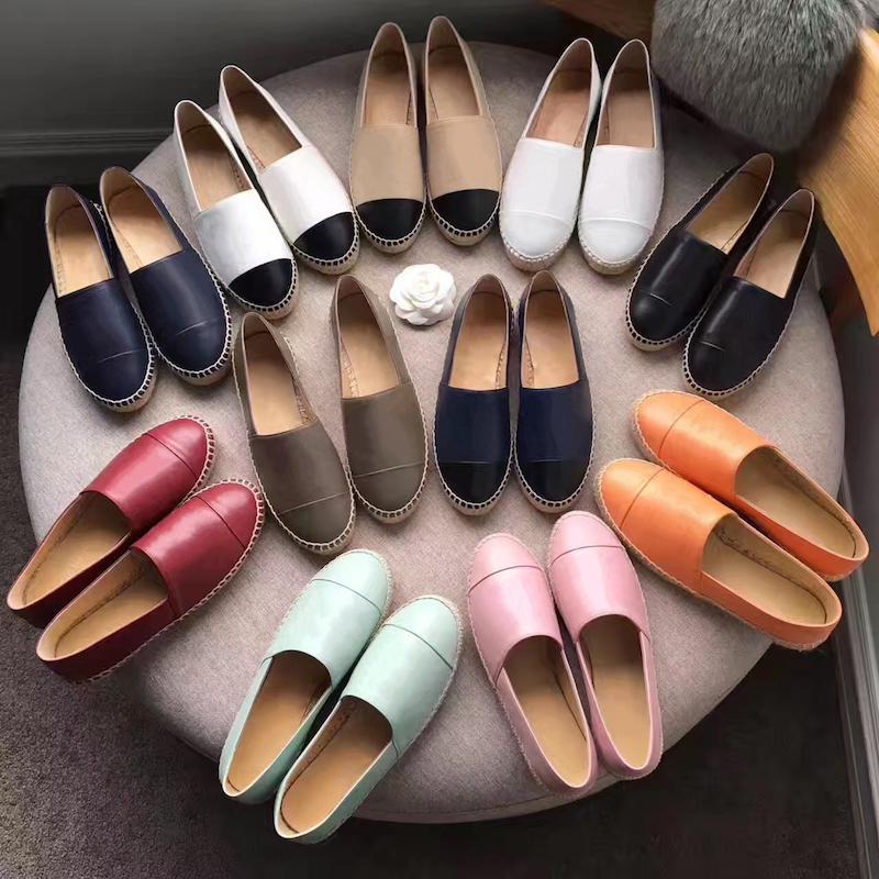 Tasarımcı loafer'lar Kadınlar Espadrilles düz ayakkabılar Tuval ve Real Kuzu derisi loafer'lar iki ton kapak parmak Moda rahat ayakkabılar Yaz eğitmenler