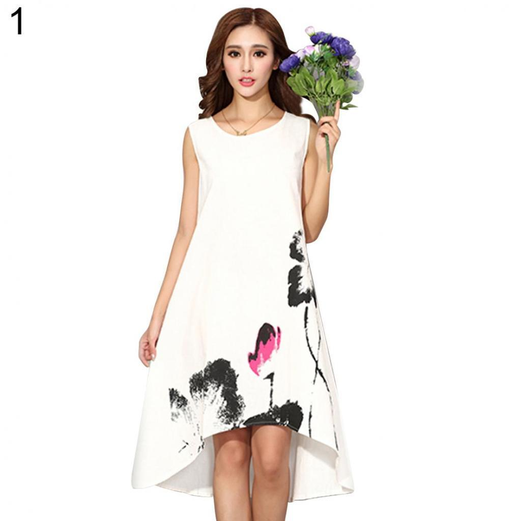 049f955fa7c 2019 Spring White Dress Women vintage traditional chinese painting lotus  floral print long dress