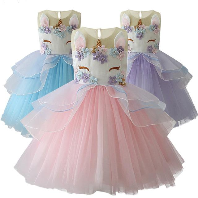 887d92d9a240f 2018 Baby Girls Dresses Sleeveless Embroidered 3D Princess Gown Teenage  Kids Wedding Dress Summer Performance Skirt Party Costumes