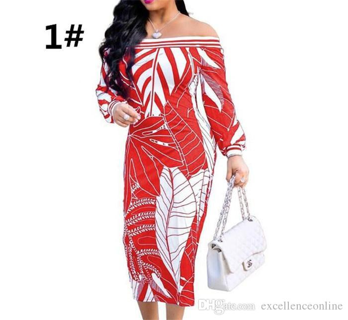 30pcs sexy off shoulder women's long-sleeved printed dress skirt wrapped chest dress