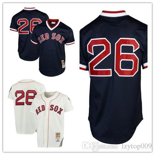 new styles 63541 693d0 Men s Red Sox 26 Wade Boggs Mitchell & Ness White Cooperstown Collection  Authentic Throwback Replica Boston Jersey