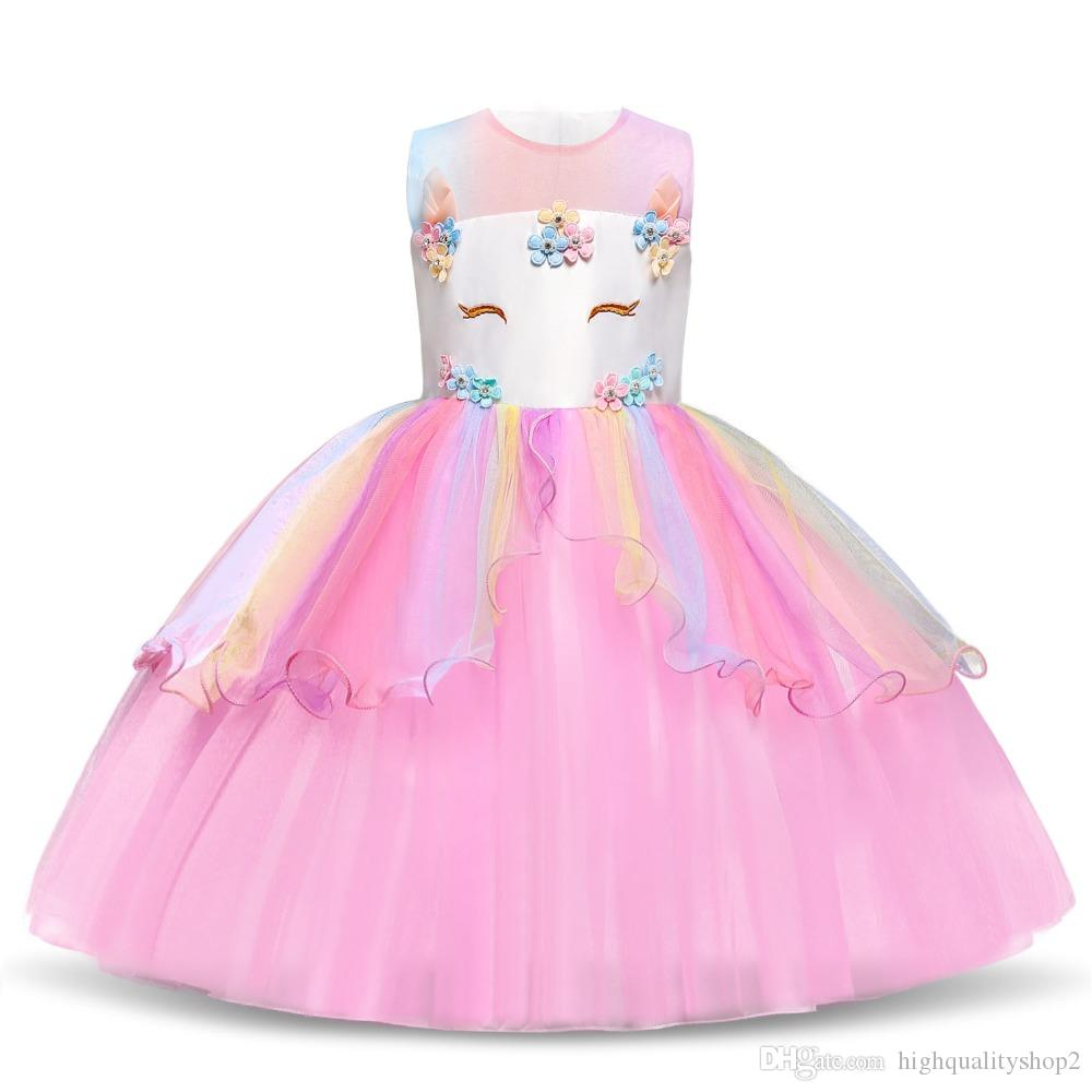 8364eb56 2019 2019 Kids Dresses For Girls Unicorn Party Princess Unicorn ...