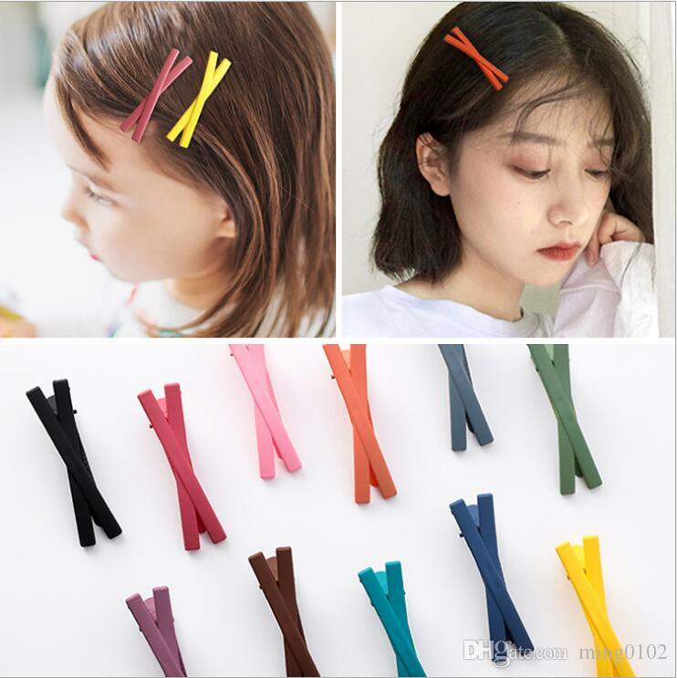 Simple Pretty Girl Children Solid Color Acrylic Resin Hair Clips Frosted Cross Hairpin Hairgrip Hair Pin Bobby Pin Barrette Headdress