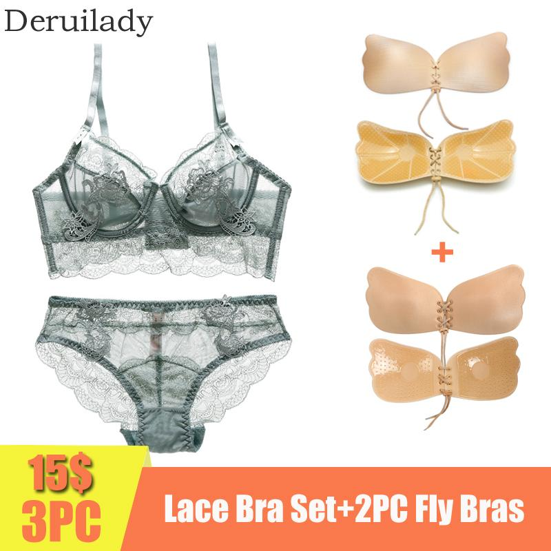 3PC 15$ Women Ultra-thin Bra Set Underwire Embroidery Lace Bra Panties Set Floral Transparent Sexy Lingerie Soft Bra Brief Set