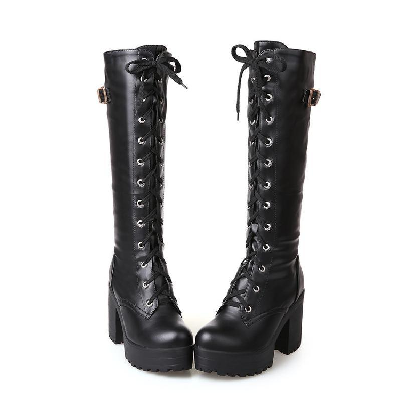 02398bbc6507 Knee High Boots High Heel Leather Women Winter Boots Fashion Round ...