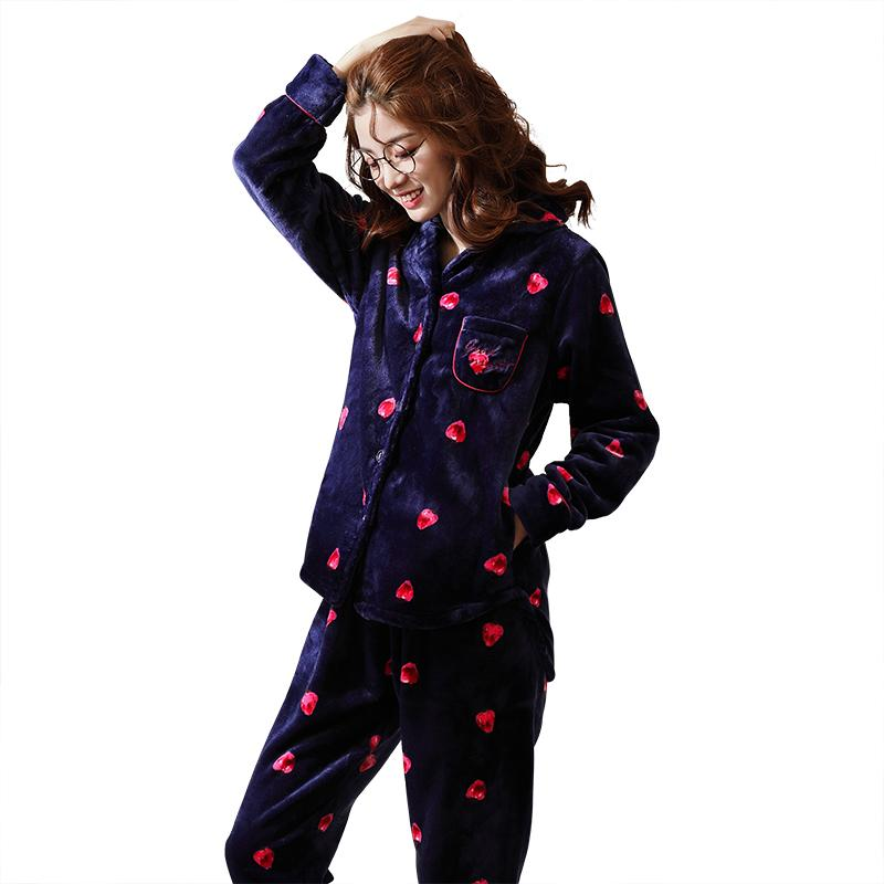 1ac08ef2b1 2019 Women Flannel Pajamas Set Winter Pyjamas Long Sleeve Turn Down Collar  Soft Sleepwear Thick Warm Big Size M XXL Pijama Mujer From Yujinnice