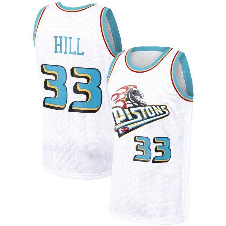 best sneakers 1e308 492e2 Pistons 33 Grant # Hill White jersey 11 Isiah # Thomas 10 Dennis # Rodman  Mesh Retro Basketball Jerseys