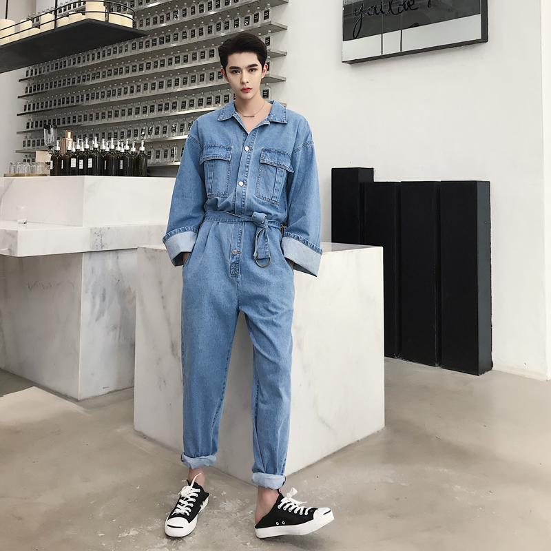 2ffe42bc4af 2019 New Men Retro Fashion Casual Loose Denim Overalls Streetwear Hip Hop  Long Sleeve Jeans Harem Pant Male Women Jumpsuit Jeans From Cactuse