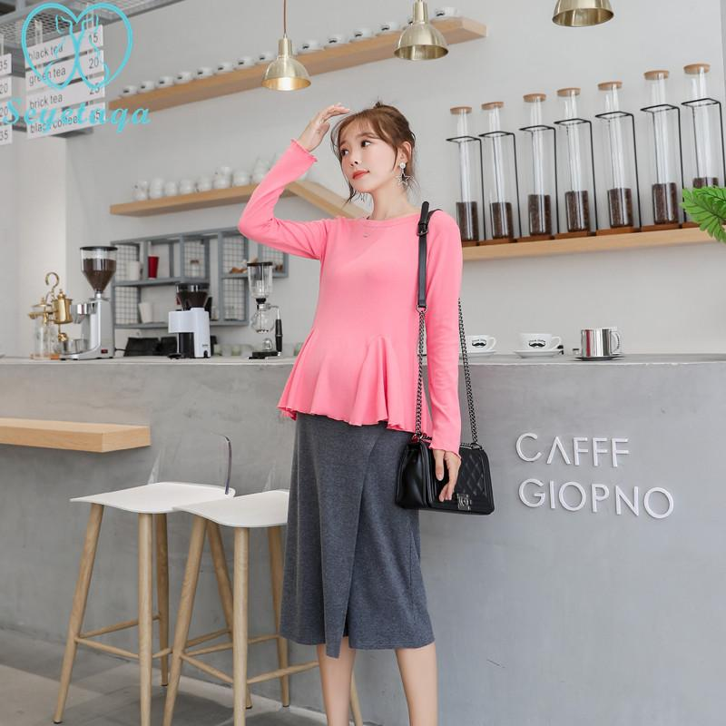 e22ad1084 Compre 2073   Conjuntos De Ropa De Maternidad Dulce Camisa Rosa Top + Belly  Pantskirt Elegante OL Ropa De Trabajo De Oficina Para Mujeres Embarazadas  ...