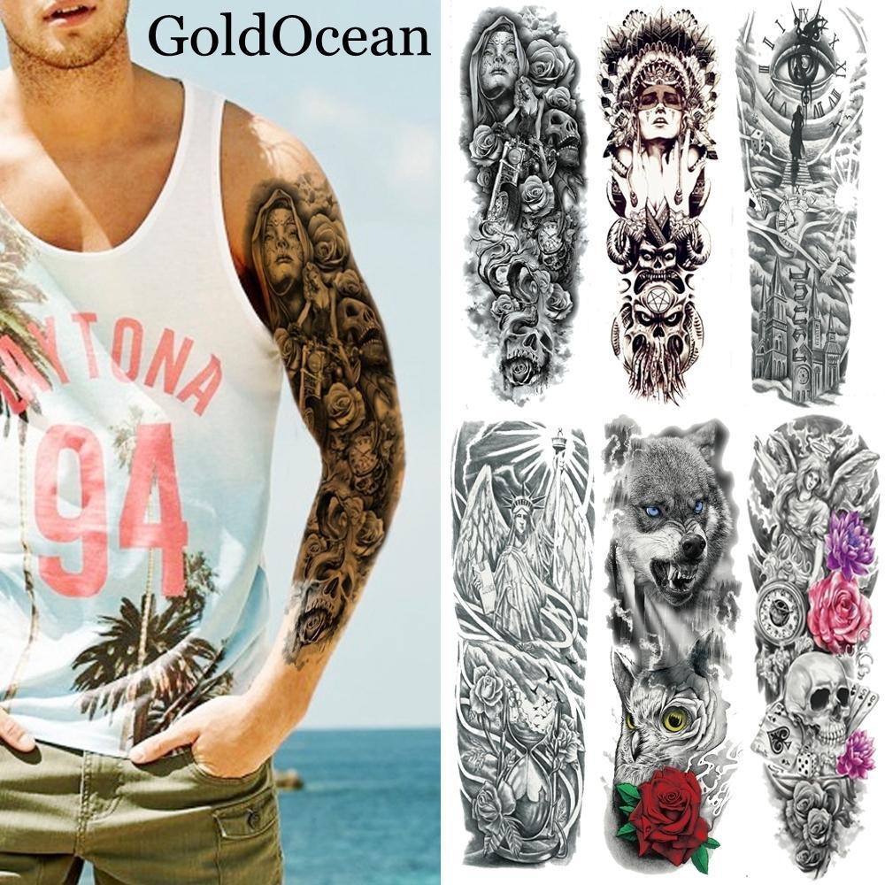 48x17 Cm Arte Corporal Grande Brazo Falso Pegatinas De Tatuaje