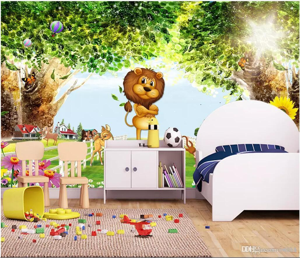 3d room wallpaper custom photo non-woven mural Beautiful scenery forest wood cartoon children's room kids room wallpaper for walls 3 d