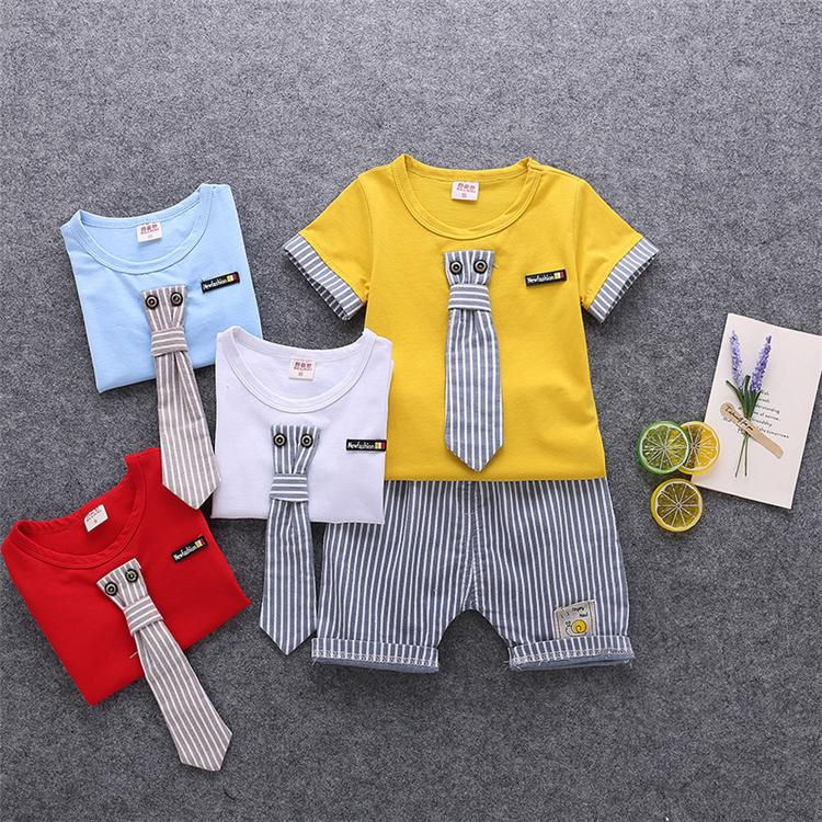 26f1a99dd3303 kids clothes 4 colors Summer T-shirt + Shorts 2 Piece Sets kids designer  clothes boys Short Sleeve Cartoon T-shirt striped Shorts JY187