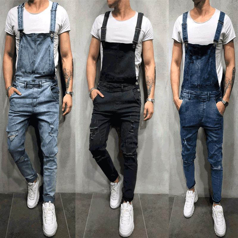 Compre Los Hombres De La Moda Ripped Skinny Jeans Denim Bib Overol Hi  Street Style Angustiado Monos Para Hombre Suspender Stretch Denim  Pantalones A  41.52 ... e6ccb96d10b